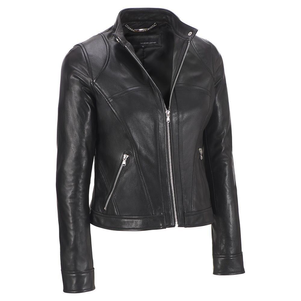Wilsons Leather Womens Multi Seam Center Zip Lamb Scuba L Black