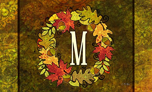 """Fall Welcome Wreath (Toland Home Garden 830132 Fall Wreath Monogram M 18"""" x 30""""  Recycled Mat, USA Produced)"""