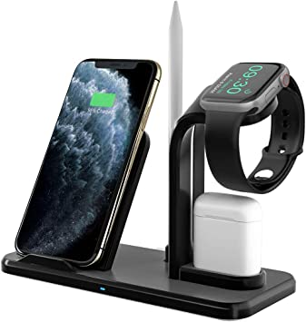 Bestrans Fast Wireless Charger 3 in 1 mit Stylus Stift Stand, Wireless Ladegerät Ladestation für AirPods Apple Watch 5432, iPhone 11XSXS