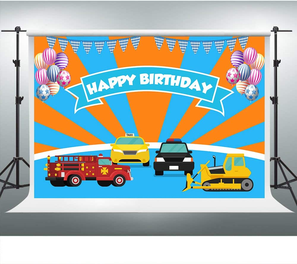 New Trucks Backdrop for Blippi Themed Birthday Party 7x5ft Background Photo Booth Banner for Cake Table Supplies 7
