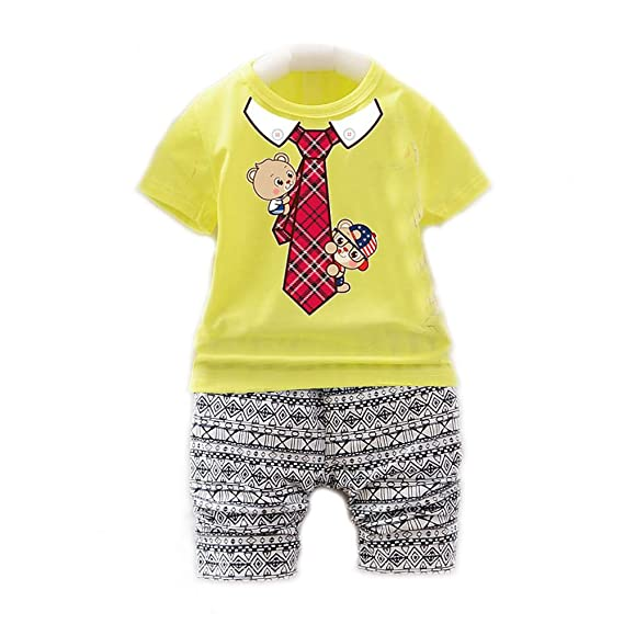 17cc48a0f Bold N Elegant Cute Red Tie Cartoon Printed Little Boy Girl Baby Clothing  Set Summer Dress Pyjama Tshirt Pant Set for Baby Kids: Amazon.in: Clothing  & ...
