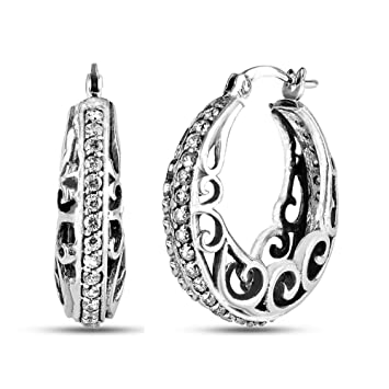 1d193f1d5 LeCalla Sterling Silver Jewelry CZ Stone Studded Filigree Design Hoop  Earrings for Women
