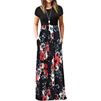 AgrinTol Women's Boho Long Dresses, Casual Short Sleeve O-Neck Print Maxi Dresses with Pocket Party Dress Sales 2019