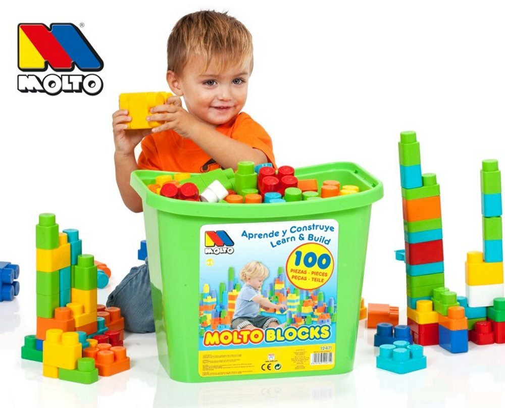 Molto Box Blocks With 100 Construction Toy Bricks Assorted Colors