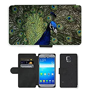 CARD POCKET BOOK CASE PU LEATHER CASE // M00146456 Peacock golpe Rad Pájaro Rueda del pavo // Samsung Galaxy S5 S V SV i9600 (Not Fits S5 ACTIVE)