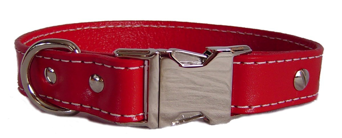 Auburn Leathercrafters Seneca Side Release Buckle Collar, Red, 26 inches (24 inches to 26 inches)