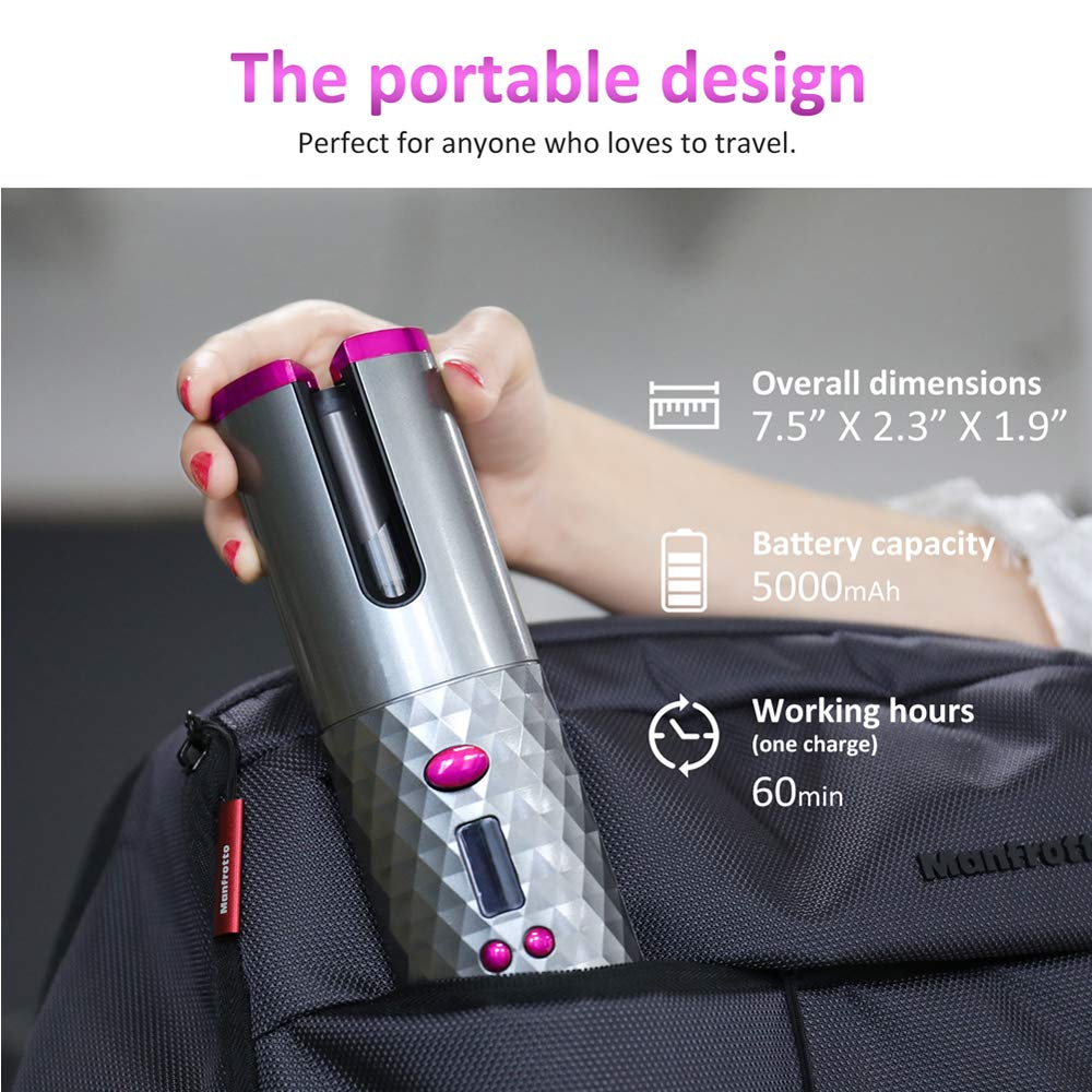 Automatischer Curler, PADCIST MagicRod der weltweit erste kabellose, tragbare, elektrische Lockenwickler mit Links- & Rechtsdrehung, Lockenstabzange, voller Verbrühschutz, Locken oder Wellen