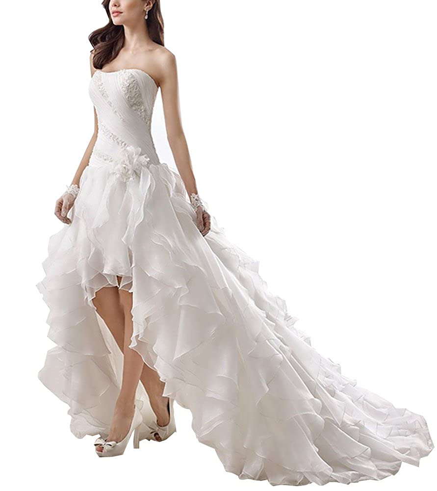 6275afbf82b Kevins Bridal Strapless High Low Wedding Dresses 2017 Ruffled Pleat Wedding  Gown at Amazon Women s Clothing store