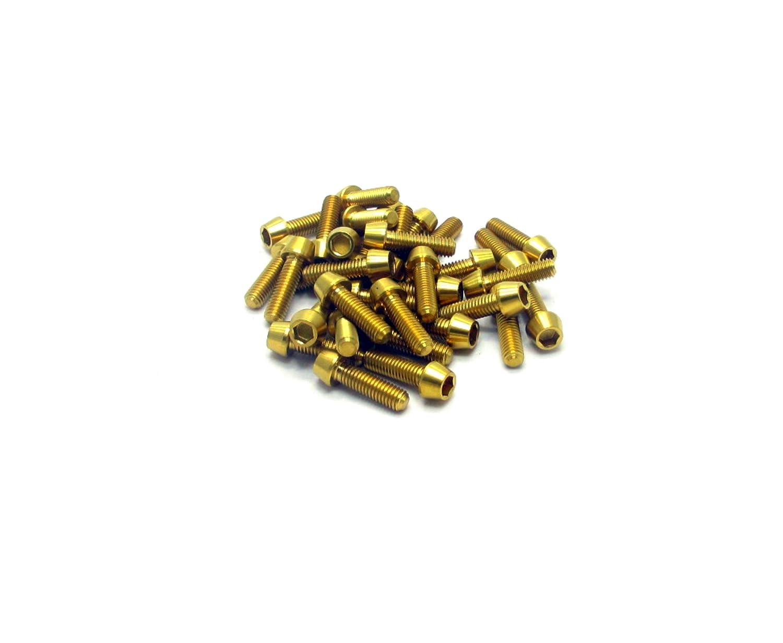 Racepro©–20x Gr5Titanium conique à tête–Filetage M6x 20mm x 1mm–Allen Head–Or poli