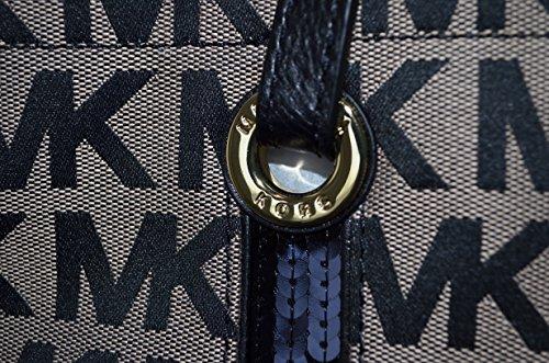 Michael Kors Sequin Stripes Ns Tote Beige and Black (Mk SIG Jqd ... 5c99630af2837
