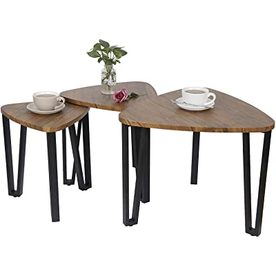 HomGarden Industrial Nesting-Tables End Side Table Accent Tables Plant Stand Porch Balcony Garden Decor Small Coffee Table: Kitchen & Dining