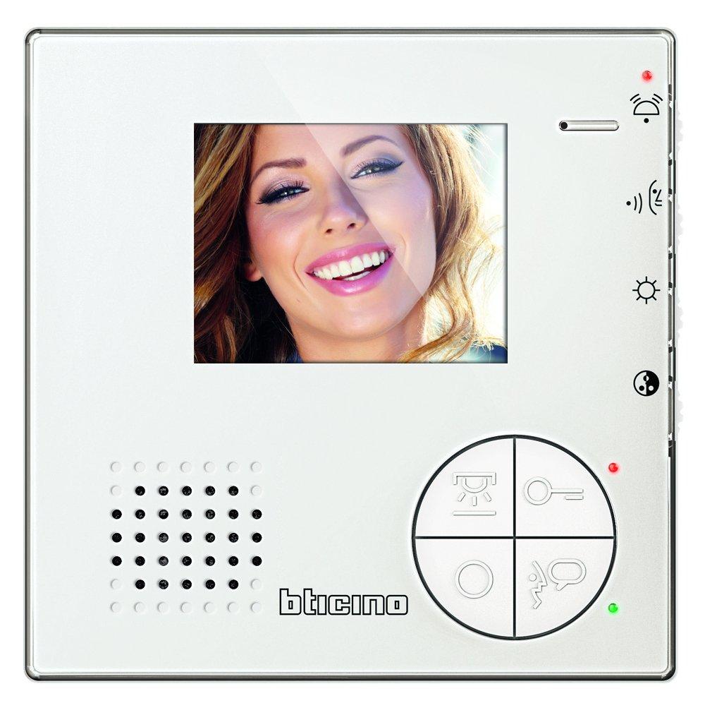 344502 Classe 100 V12B Video-Innenstelle im hochwertigen Wei/ßglas-Effekt mit 3,5 LED-Monitor Legrand