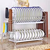 NEX Dish Drainer 304 Stainless Steel Kitchen 2-Tier Dish Rack with Utensil Holder