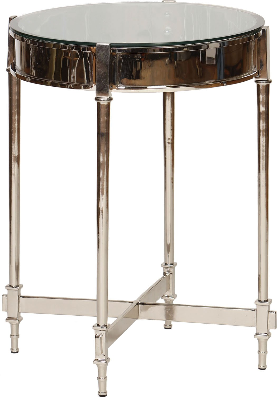 Knox and Harrison Nickel Side Table with Beveled Glass Top