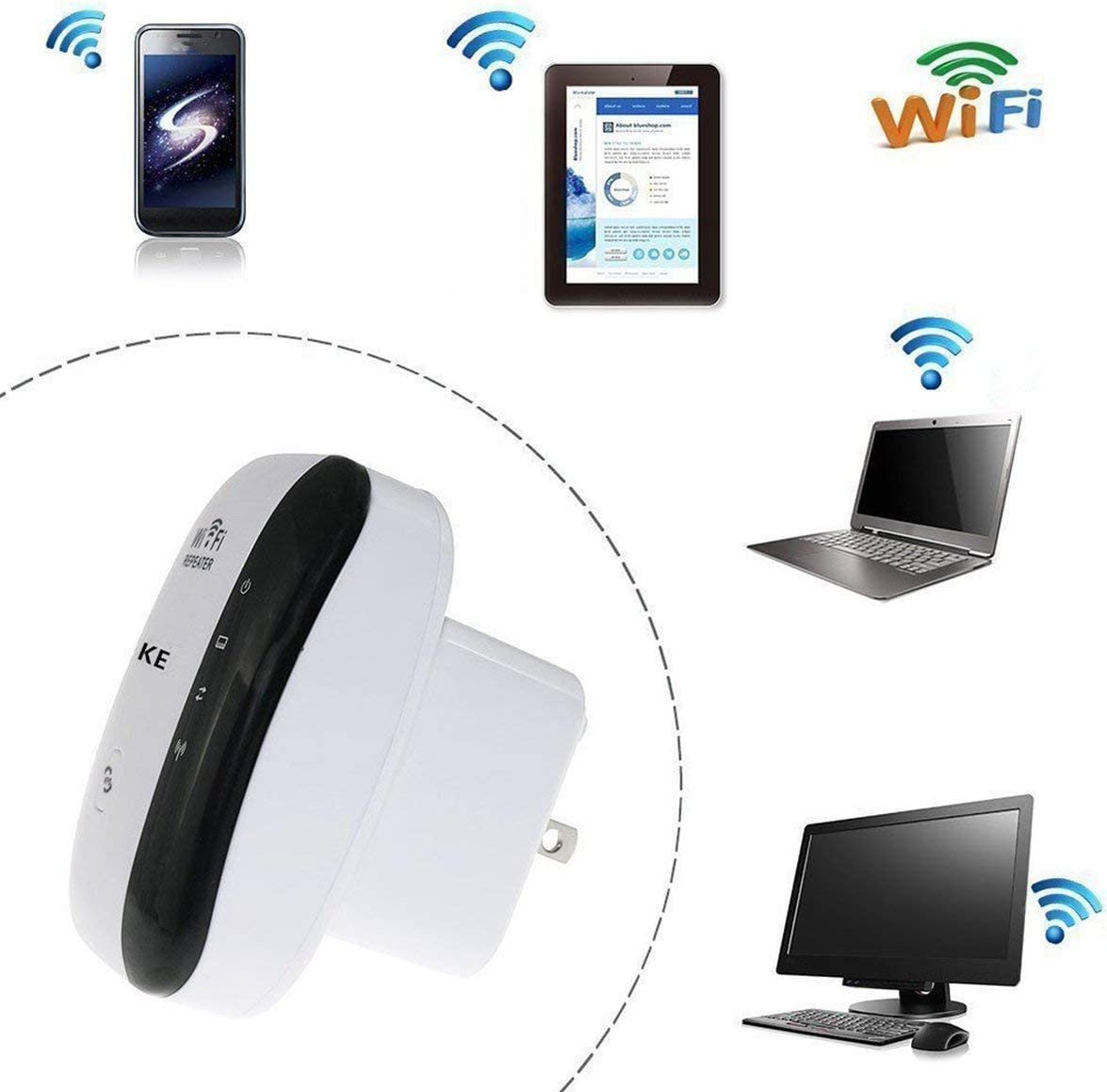 Romirofs WiFi Repeater 802.11a//b//g//n Network Extender Amplifier Wall Plug Design WiFi Signal Booster for Office Home 300M