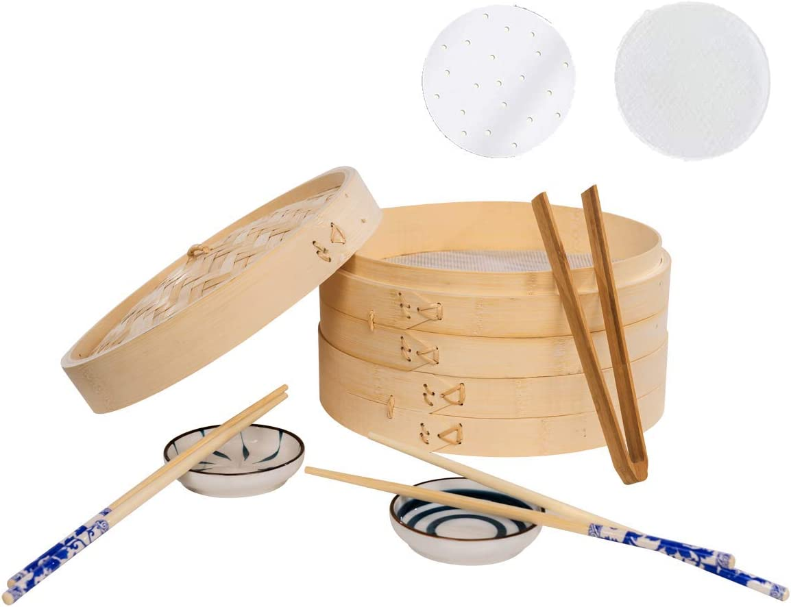 NEWBEED Bamboo Steamer (10 inch), 2 Tier Food Steamer with Lid for Dumplings, Dim Sum, Chicken, Contains 2 Chopstick Sets, 2 Sauce Dish, 1 Food Tong, 2 Silicone Pads & 50 Wax Paper for FREE
