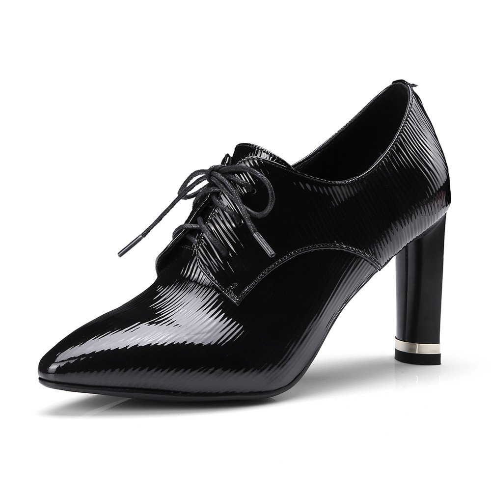 Nine Seven Patent Leather Women's Pointed Toe Stiletto Heel Lace up Fashion Handmade Business Pumps Shoes (8, Black)