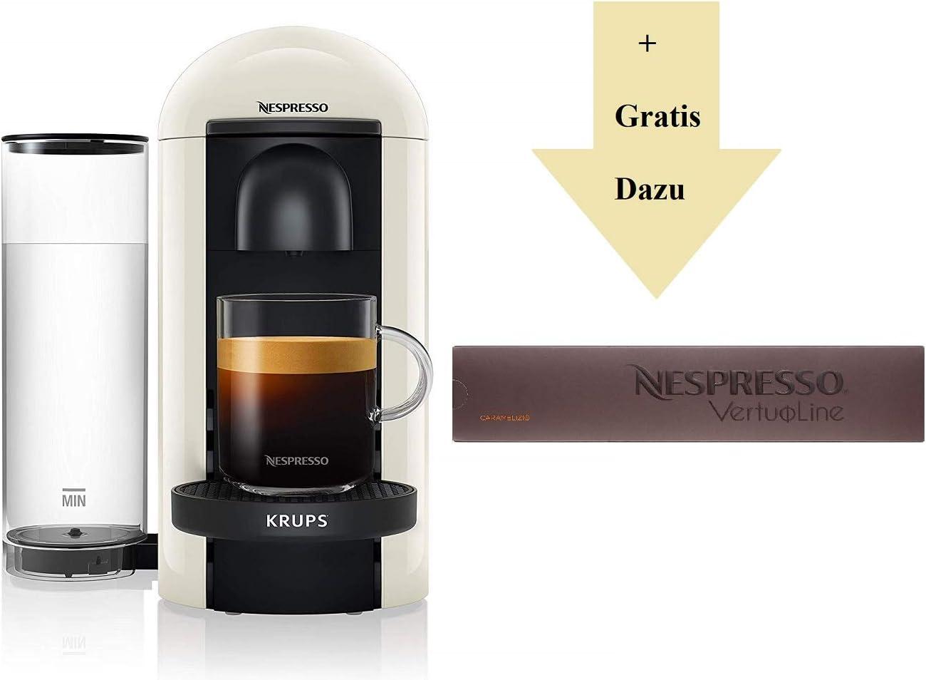 Krups Nespresso XN9031 Vertuo Plus - Cafetera Nespresso (reconocimiento automático de las cápsulas, depósito de agua de 1,1 l, 5 tazas, 10 cápsulas de caramelo), color blanco: Amazon.es: Hogar