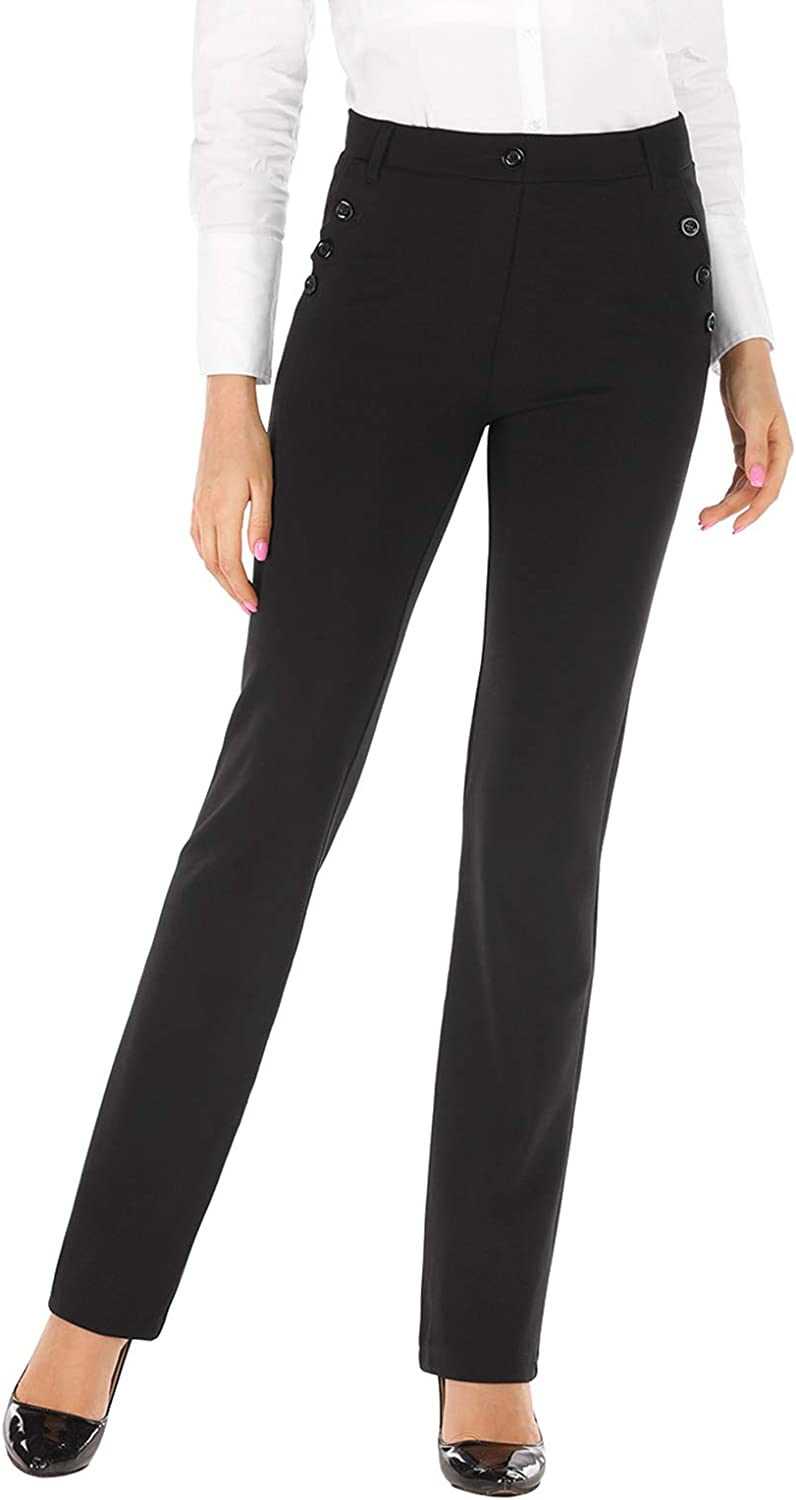 BIG ELEPHANT Professional Women's Black Stretch Pull on Yoga Dress Pants Slacks for The Office Work with Pockets