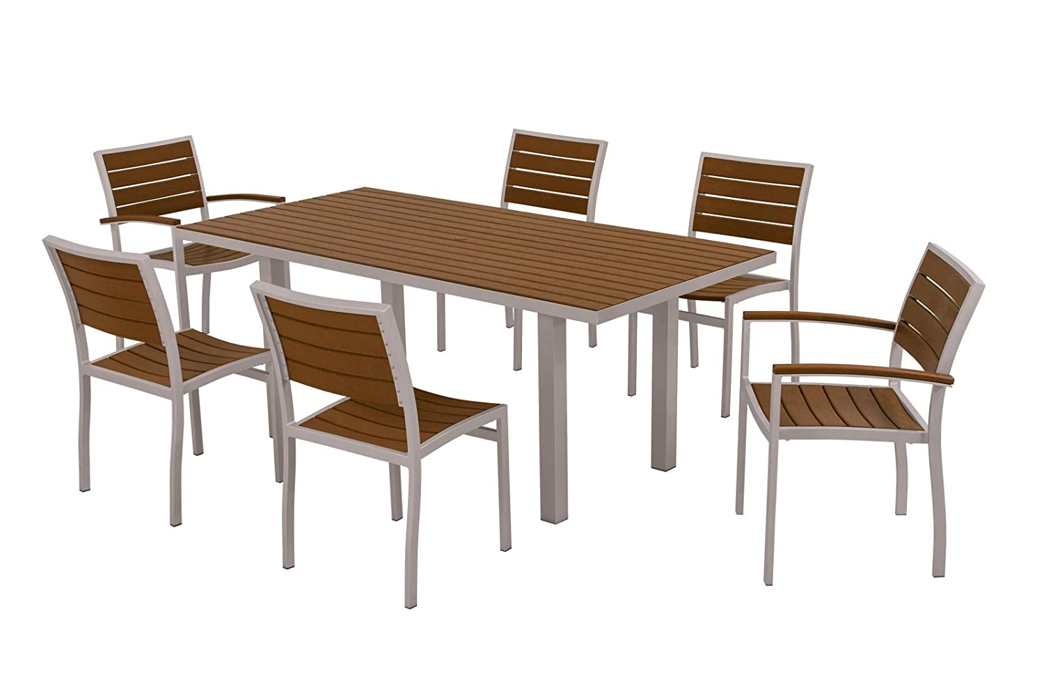 Amazon.com : POLYWOOD PWS117 1 11TE 7 Piece Dining Set, Euro, Textured  Silver/Teak : Outdoor And Patio Furniture Sets : Garden U0026 Outdoor