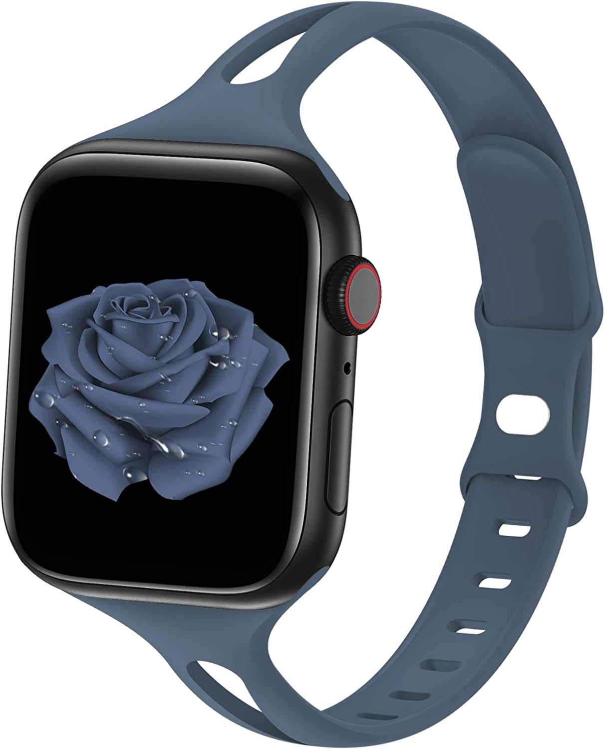 Bagoplus Compatible with Apple Watch Bands 38mm 40mm 42mm 44mm, Breathable Soft Silicone iWatch Bands 38mm 40mm 42mm 44mm Women Men Compatible with iWatch Series 6/5/4/3/2/1/SE