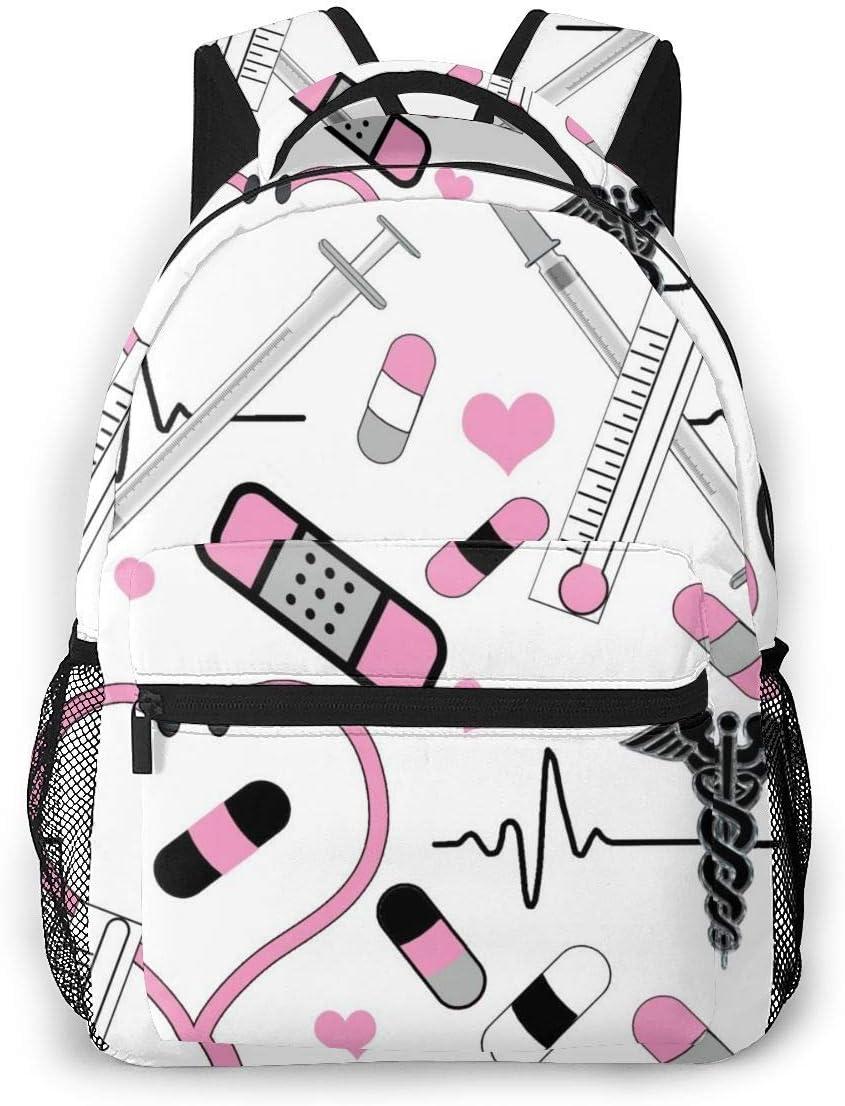 Bolsa de computadora Rosa Enfermera EKG Caduceo Estetoscopio Hombres y Mujeres Estilo Casual Mochila de Lona Mochila Escolar,
