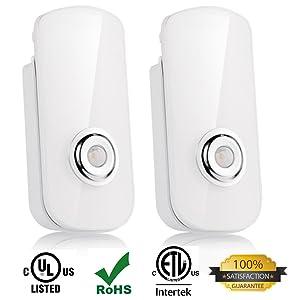 2 Pack LED Night Light Flashlight Motion Sensor Cut Light 3-in-1, Rechargeable Emergency Light, Energy Saving Auto Sensing Portable Wall Mount Light - White