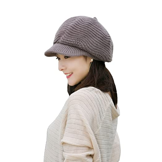 Image Unavailable. Image not available for. Color  Khaki Cotton Peaked Cap  Knitted Beret Woolen ... 2ab431d2b05f