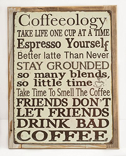 Framed Coffeeology Metal Sign Mounted on Rustic, Weathered Wood (Weathered Metal Sign)