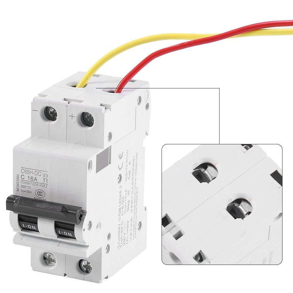 32A Miniatur-Leistungsschalter 32A 250V DC 2P Sicherungsautomat Niederspannungs Miniatur Air Circuit Breaker Solarenergie Schalter f/ür Sonnenkollektorrastersystem 16A 63A