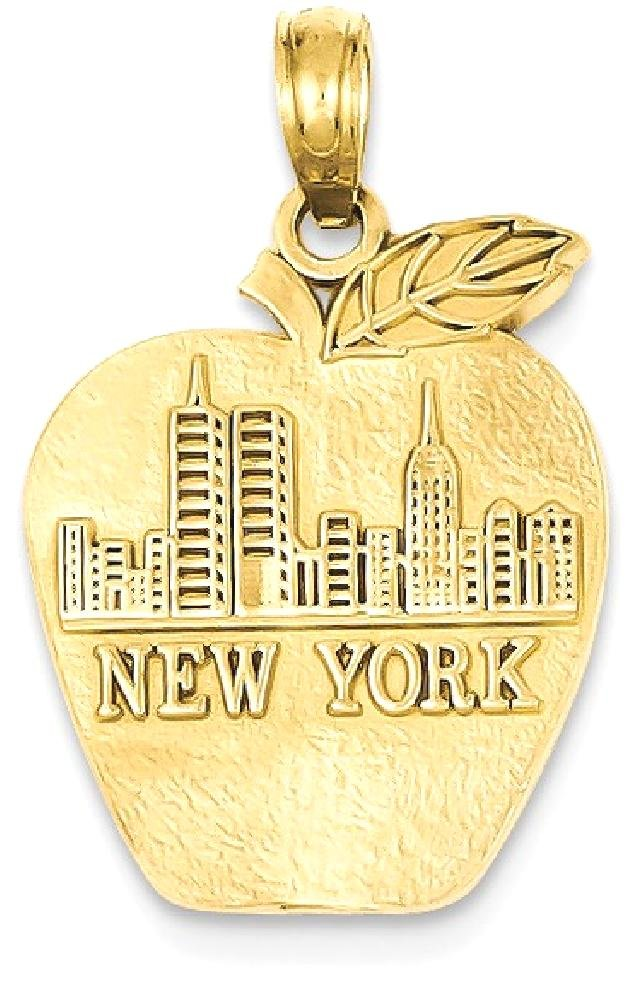 ICE CARATS 14k Yellow Gold Solid New York Skyline On Small Apple Pendant Charm Necklace Travel Transportation Fine Jewelry Gift Set For Women Heart