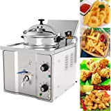 Commercial 304 Stainless Steel Electric Countertop Pressure Fryer 16L Stainless Chicken Fish Electricity-Saving Secure Reliab