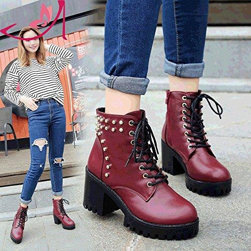 Tide Otoño Invierno Taiwán Thirty Vino Zapatos Tacón Mujer De Zapatos De Impermeables KPHY Mujer 35 Botas De five Y Mujer Alto Con Rojo Martin Nueva Remache De Atrevida Remache wTpU7g