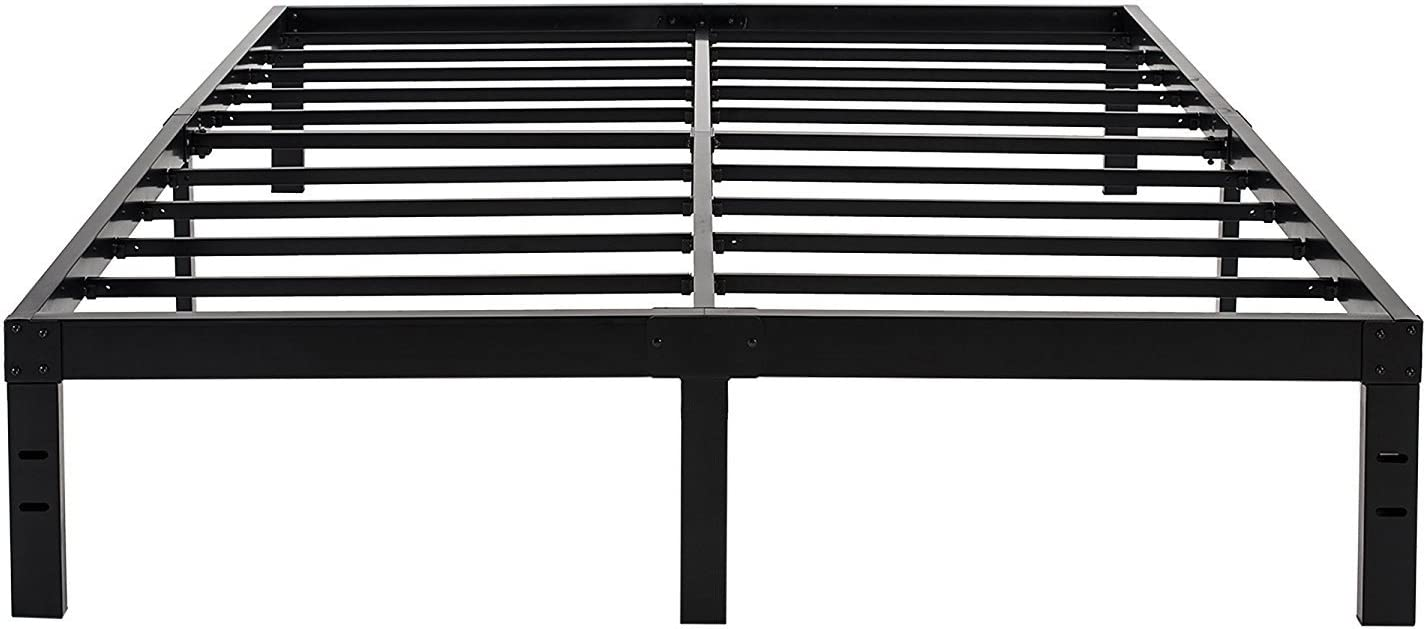 Image of 45MinST 14 Inch Reinforced Platform Bed Frame/3500lbs Heavy Duty/Easy Assembly Mattress Foundation/Steel Slat/Noise Free/No Box Spring Needed, Twin/Full/Queen/King/Cal King(Full) Home and Kitchen