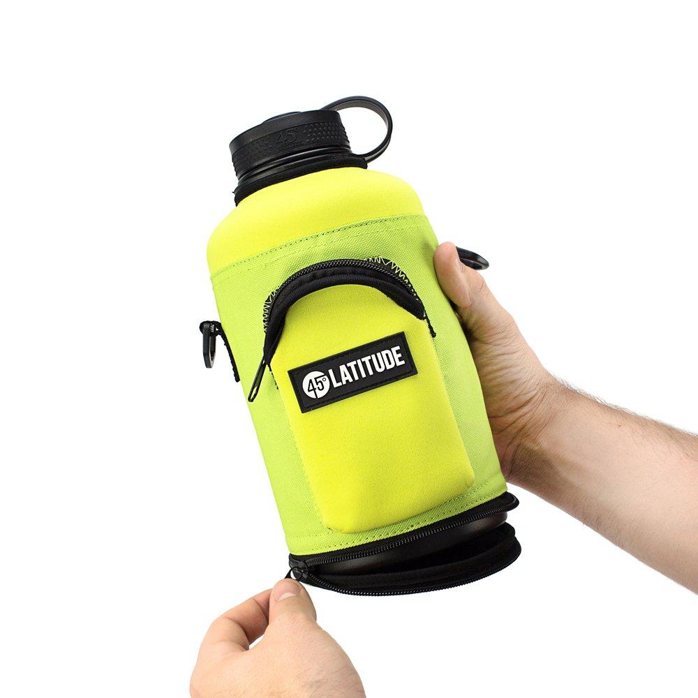 Cerveza Botella de sonido (64oz Protectora de Neopreno Carrier Tote Negro Negro Tote Nylon y con correa de hombro (se vende por separado) para Hydro Flask y otras marcas populares 5a7039