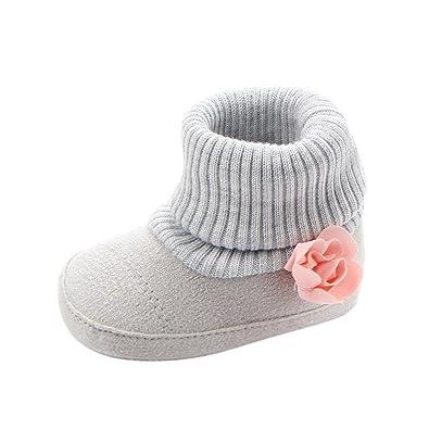 Saingace Casual Fashion Infant Newborn Baby Girls Boys Flower Crib Boots  Soft Sole Prewalker Warm Shoes a8442e8f5b17