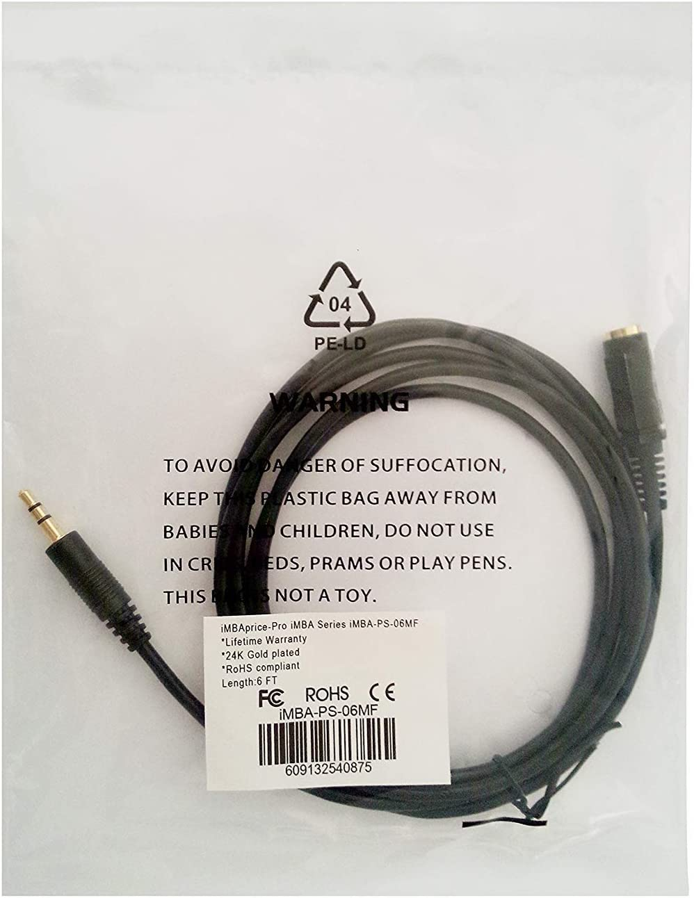 iMBAPrice iMBA-PS-06MM 6-Feet Gold Plated 3.5mm Male to 3.5mm Male Stereo Audio Cable