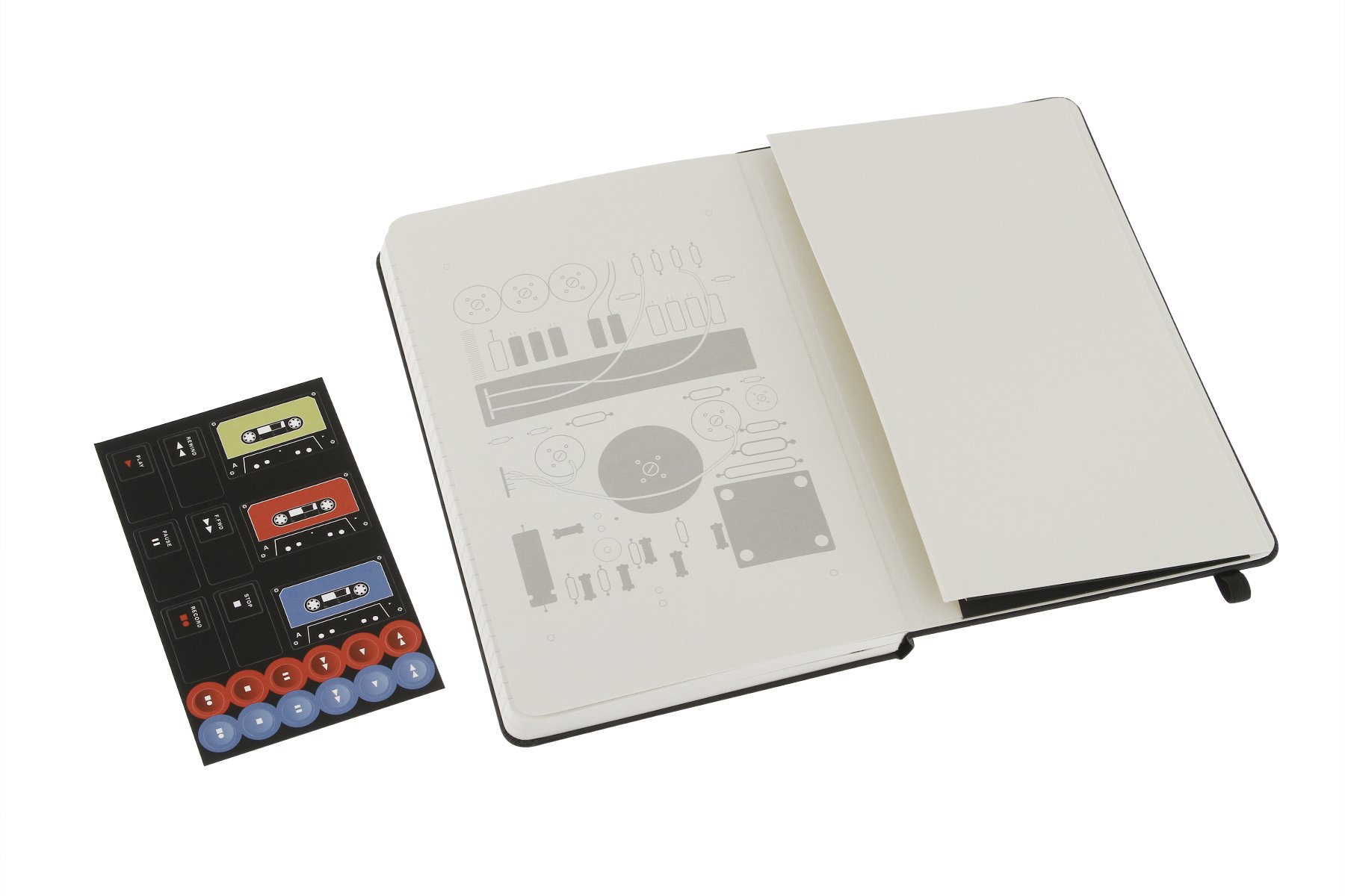Moleskine Audio Cassette Limited Edition Notebook, Large, Ruled, Black, Hard Cover (5 x 8.25)