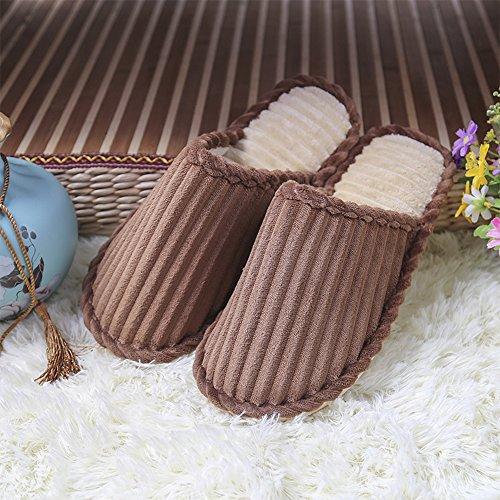 Confortable Chaussons Hommes Chaussures Hommes Marron Peluche BOZEVON Coton Chaud Pantoufles Femmes Hiver R1O8WxqgwC