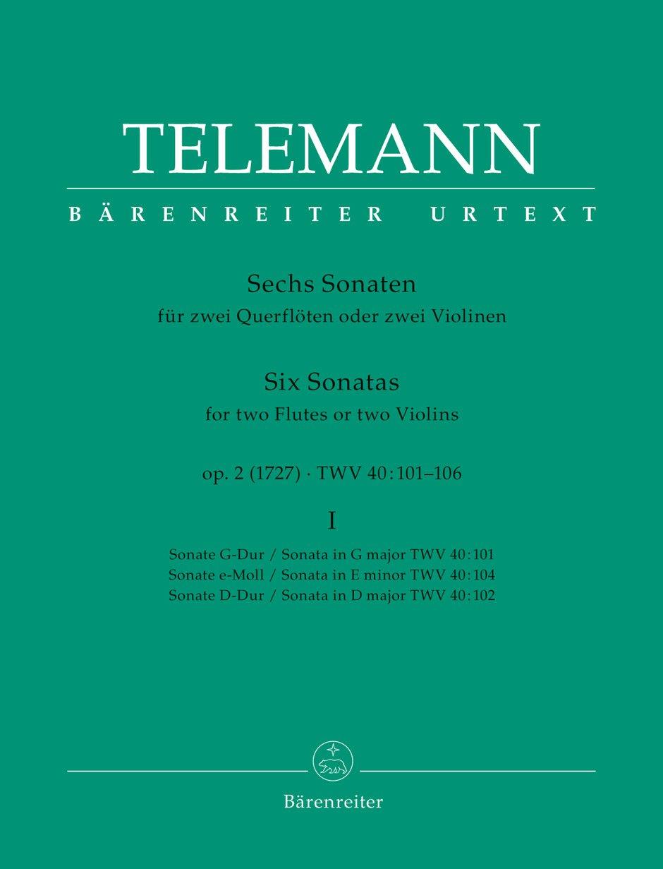 Sechs Sonaten für zwei Querflöten oder zwei Violinen op. 2 TWV 40:101, 102, 104 (Heft I). Spielpartitur, Sammelband, BÄRENREITER URTEXT