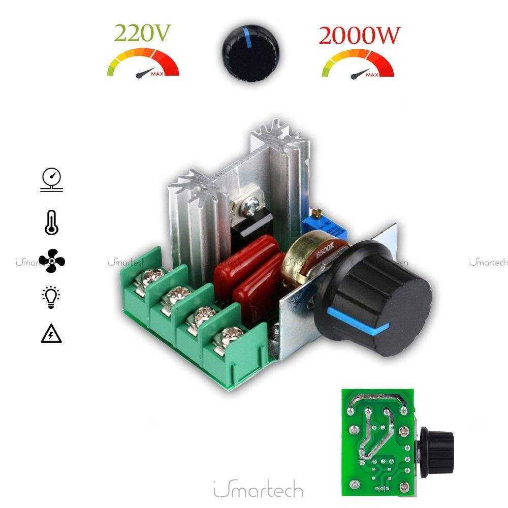 HiLetgo 2pcs 25A PWM AC Motor Speed Control Controller 2000W Adjustable Voltage Regulator 50-220V 3-01-0110