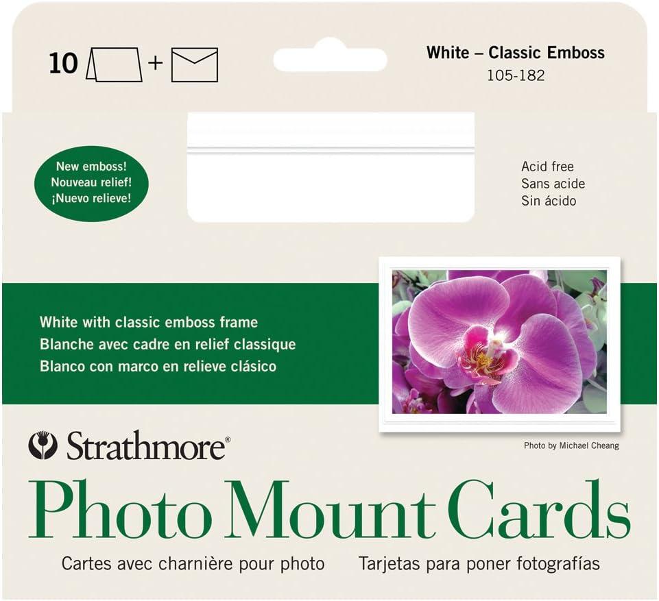 klassisch 250/wei/ß Bilderrahmen Strathmore str-105 mit gepr/ägtem Rand 10 Cards /& Envelopes wei/ß Passepartout 40/Pack