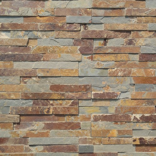 Koni Stone Citali Series Fira 8 sq. ft. Panel 6 in. x 24 in. x 0.40 in. - 0.80 in. Natural Stone by Koni Stone