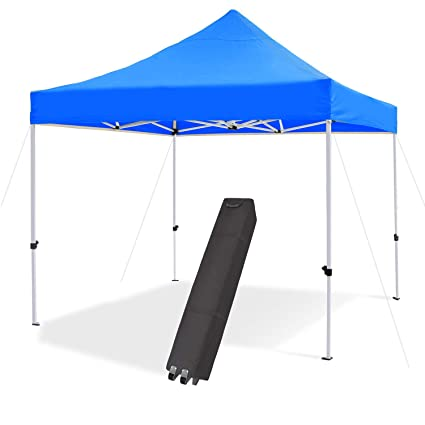 new arrival 37cf4 437ca Leader Accessories 10' x 10' Pop up Canopy Tent Commercial Instant Shelter  with Wheeled Carry Bag (Commercial Canopy - Blue)