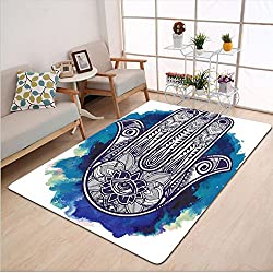 Kisscase Custom carpet Hamsa Ethnic Decor Hamsa Hand of Fatima Good Luck Symbol Oriental Ornament Meditation Girls Boys Room Accessories Pink Blue White