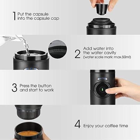 Cafetera Portátil Recargable Albohes, Mini Máquina de Espresso, con Función de Calentar, Máquina Automática de Espresso Profesional, Minicafetera en Coche, para Cápsulas Nespresso y LOR (negro): Amazon.es: Hogar