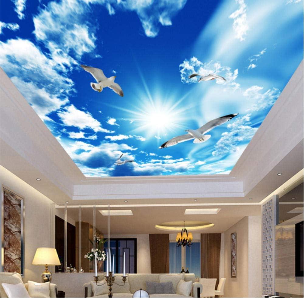 Hwhz Custom Large Ceiling Mural Wallpaper 3d Stereo Blue Sky White