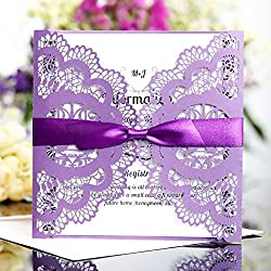 FEIYI 25 Pieces Square Laser Cut Flower Pattern Wedding Invitations Cards For Bridal Shower Invite Birthday Invite Wedding Rehearsal Dinner Invite with Self Adhesive Bowknot Ribbon(Purple Bird)