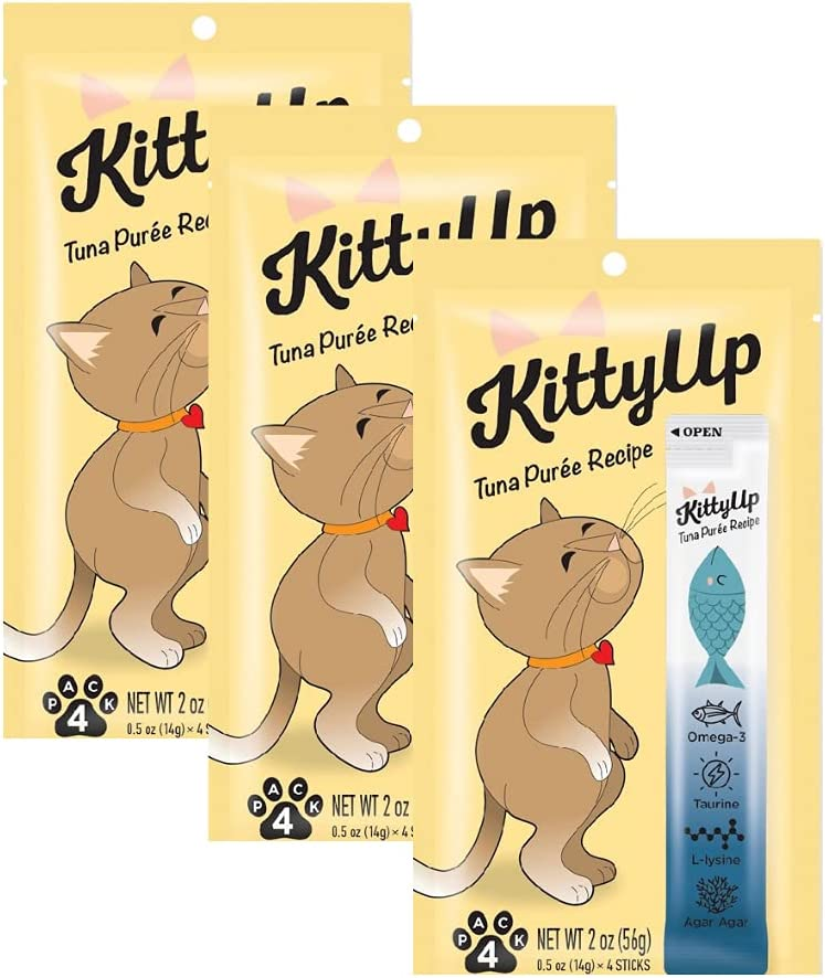 Kitty Up - Lickable Cat Treat Pouches for Indoor Cats - All Natural Tuna Puree Tube Treats - Kitten and Senior Soft Wet Cat Food - Limited Ingredient - Grain Free, Lysine, Taurine; 12 tubes .05 oz ea.