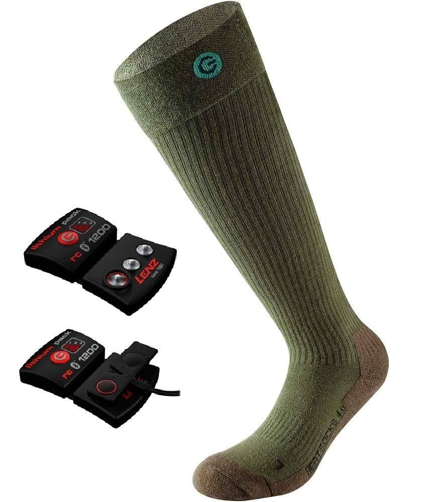 Lenz Set of Heat Sock 4.0 Toe Cap + AKKU Set RCB 1800 mAh I beheizbare Socken/Strümpfe I Funktionssocke I ergonomisch I Damen I Herren I Ski I Jäger I Förster I Wandern